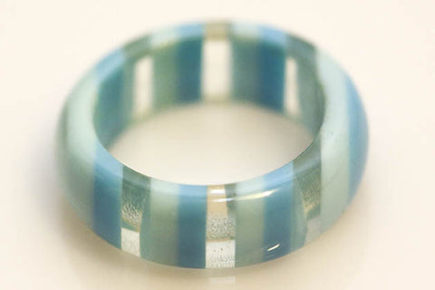 Blue Striped Lucite Ring