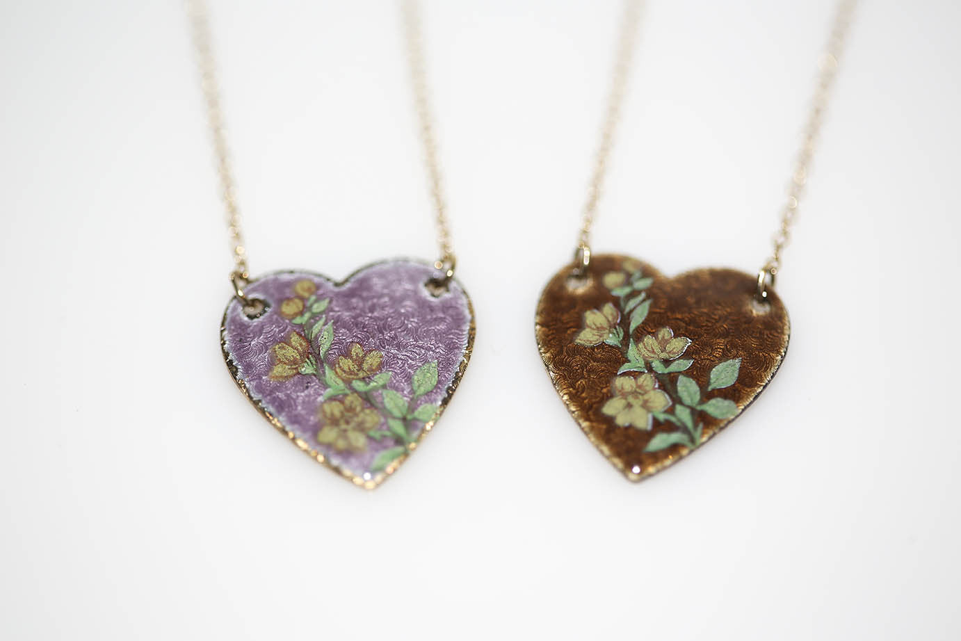 Guilloche Heart Necklaces