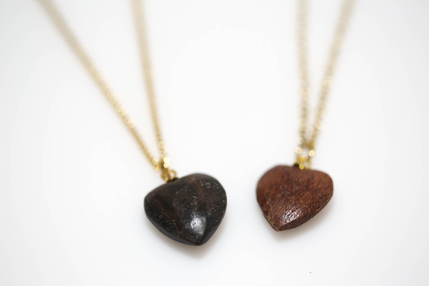 Wood Chunk Heart in Gold