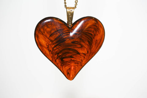 Large Lucite Heart in Brown