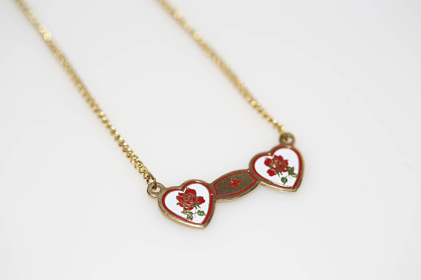 Enameled Rose Hearts