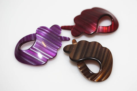 Laminated Hair Barrettes - Scalloped