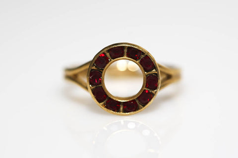 Red Rhinestone Circle Ring
