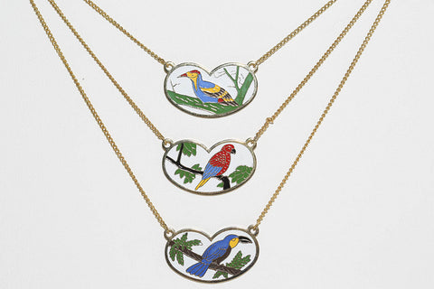 Enameled Bird Necklaces