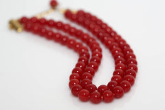 Double Strand Beaded Necklace in Red