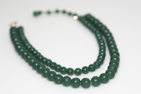 Double Strand Beaded Necklace in Green