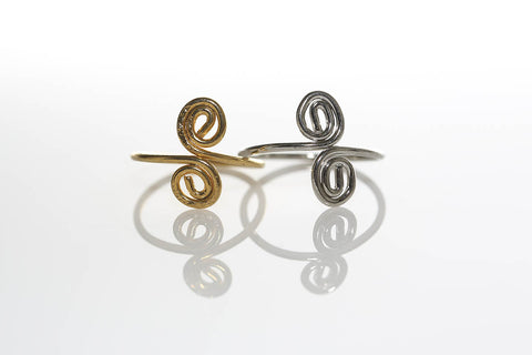 Silver and Gold Swirl Rings