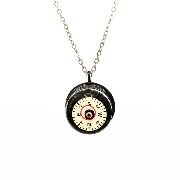 Compass level necklace with black chain