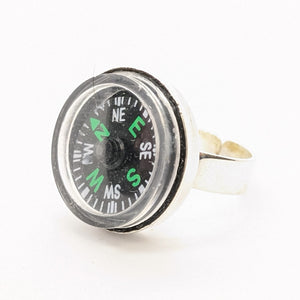 Silver-plated compass ring