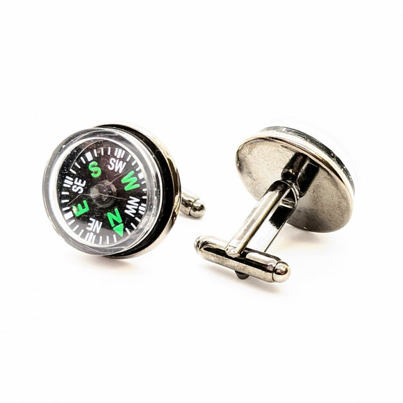 Gunmetal compass cuff links