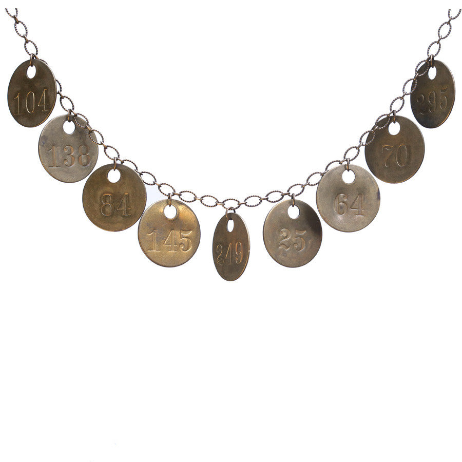 Vintage brass tag charm necklace - Amy Jewelry