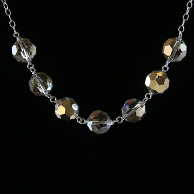 Salvaged metallic chandelier crystal seven-link necklace