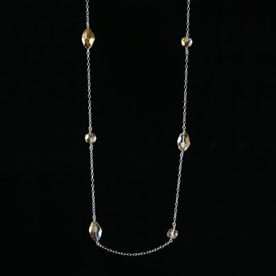 Salvaged metallic chandelier crystal spaced necklace
