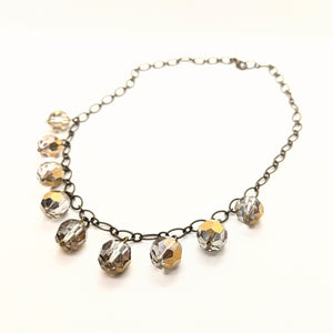 Salvaged metallic chandelier crystal charm necklace
