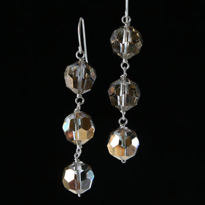 Salvaged metallic chandelier crystal triple-drop earrings