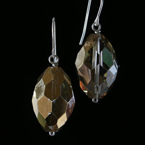 Salvaged metallic oval chandelier crystal earrings