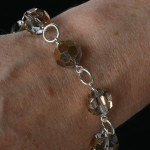 Salvaged metallic chandelier crystal link bracelet