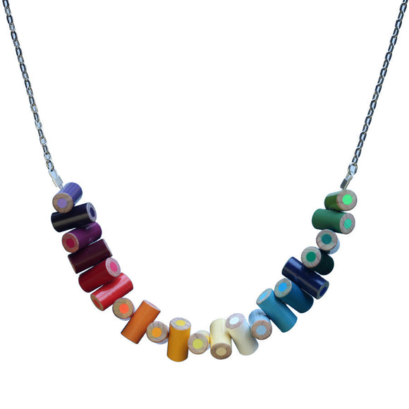 Long colored pencil stacked necklace - Amy Jewelry  - 1