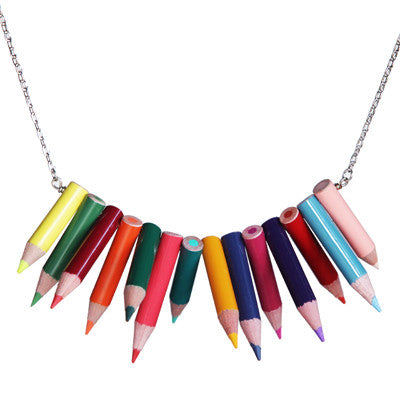 Photo of stacked pointed colored pencil necklace