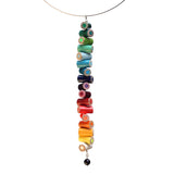 Colored pencil long pendant on steel cable - Amy Jewelry  - 1