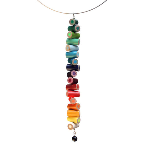 Colored pencil long pendant on steel cable