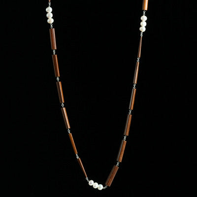 Long triple chopstick necklace with pearls - Amy Jewelry