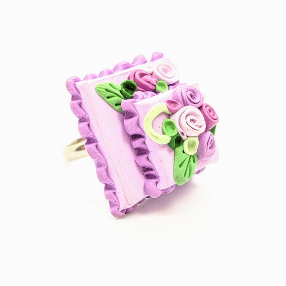 Two-tier lavender dollhouse cake ring
