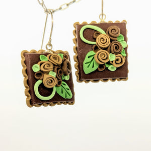 Chocolate brown dollhouse cake earrings