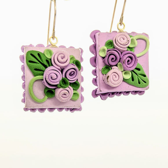 Square lavender dollhouse cake earrings