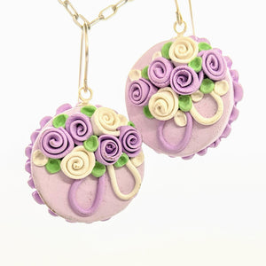 Round lavender dollhouse cake earrings