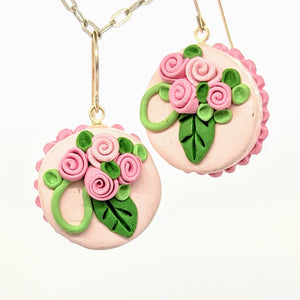 Round pink dollhouse cake earrings