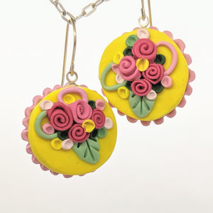 Yellow and pink dollhouse cake earrings