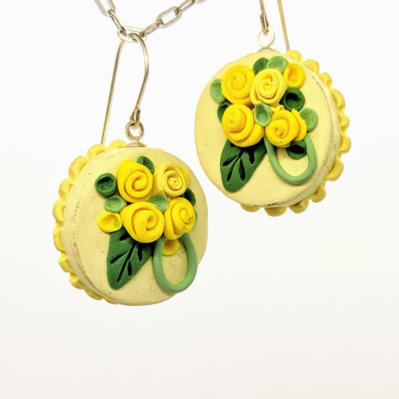 Yellow dollhouse cake earrings