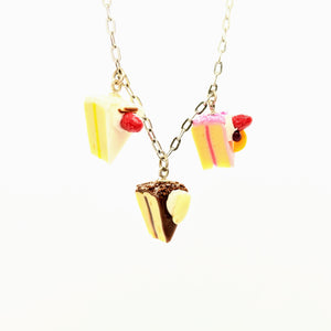 Triple dollhouse cake slice necklace