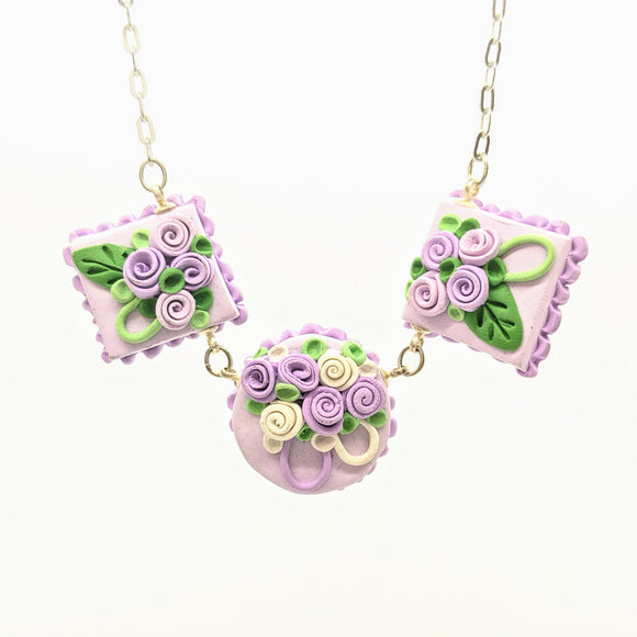 Triple lavender dollhouse cake necklace
