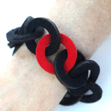 Small wool felt chain-link bracelet - Amy Jewelry  - 2
