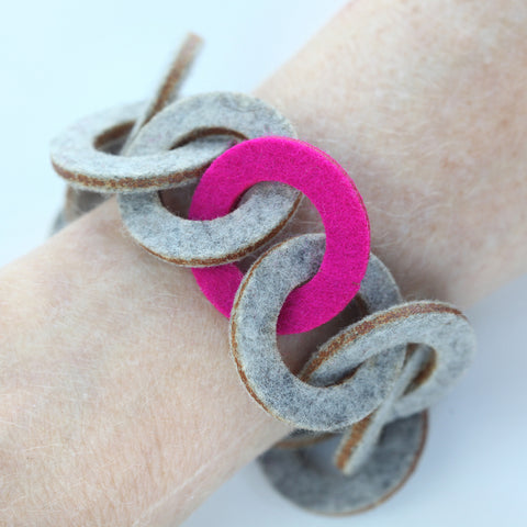 Small wool felt chain-link bracelet