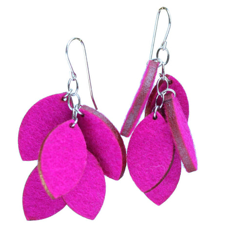 Wool felt leaf cluster earrings