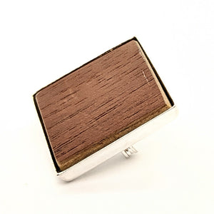 Wooden flooring sample silver-plated brooch