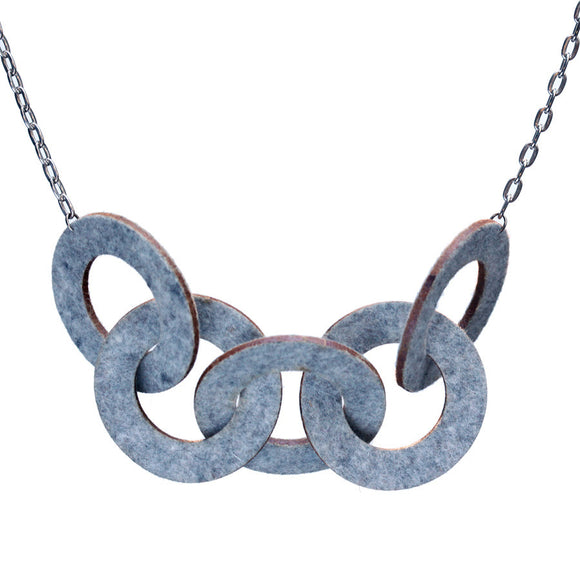 Wool felt five-ring necklace - Amy Jewelry  - 1