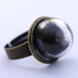 Small glass dome ring with coffee - Amy Jewelry  - 1