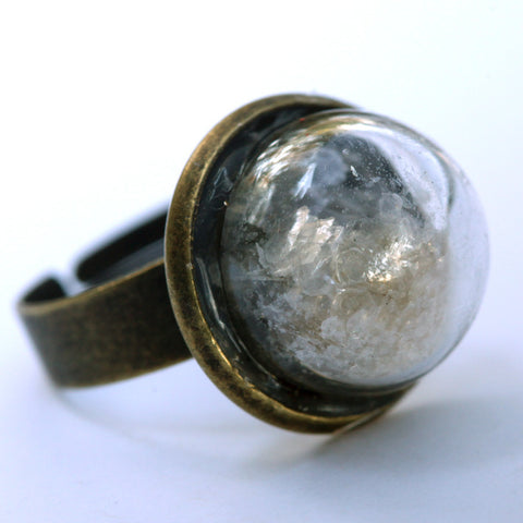 Mica glitter small glass dome ring