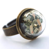 Mica glitter small glass dome ring - Amy Jewelry  - 3