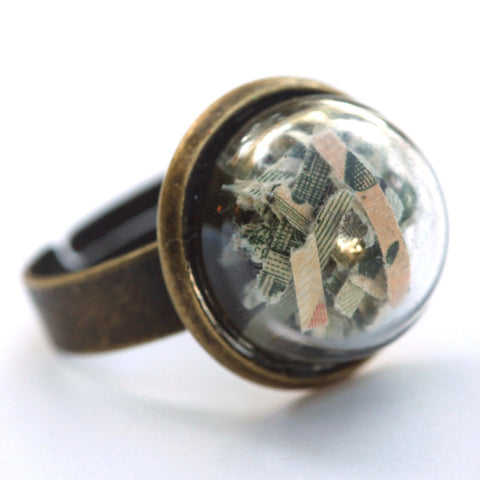 Shredded money small glass dome ring