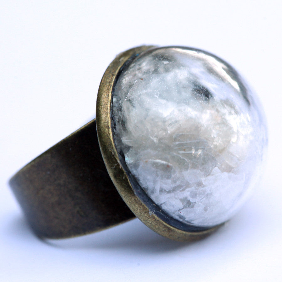 Mica glitter large glass dome ring - Amy Jewelry  - 1