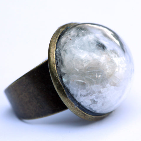 Mica glitter large glass dome ring