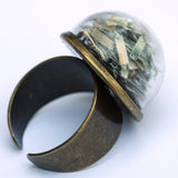 Large glass dome ring with shredded money - Amy Jewelry  - 3