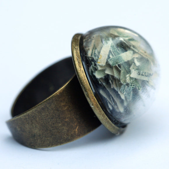 Large glass dome ring with shredded money - Amy Jewelry  - 1