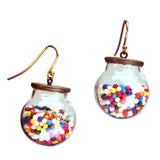 Cake sprinkle glass ball earrings with gold-plated earwires - Amy Jewelry  - 1