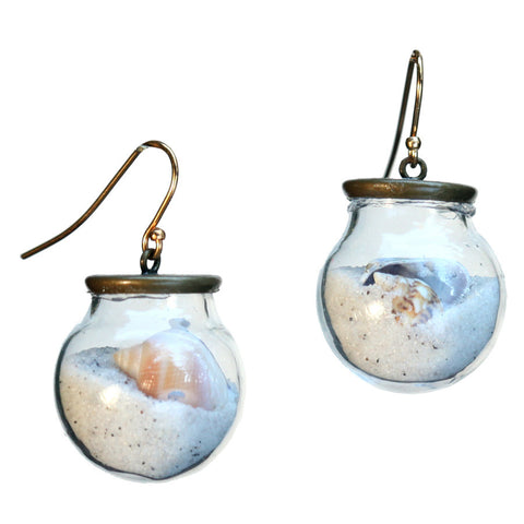Beach glass ball earrings with gold-plated earwires